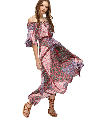 Milumia Women's Boho Off The Shoulder Swing Maxi Dress Pink Small