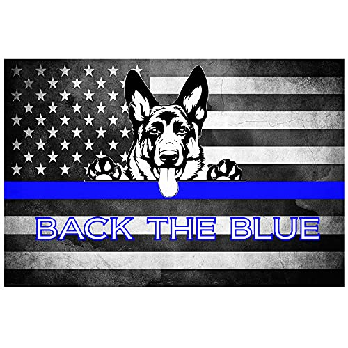 Thin Blue Line American Flag (Ver.3) 'German Shepherd K-9' Full Color Vinyl Decal/Sticker for U.S. Police Supporters. Size: 5'. (Manufactured by One Stop Decals)
