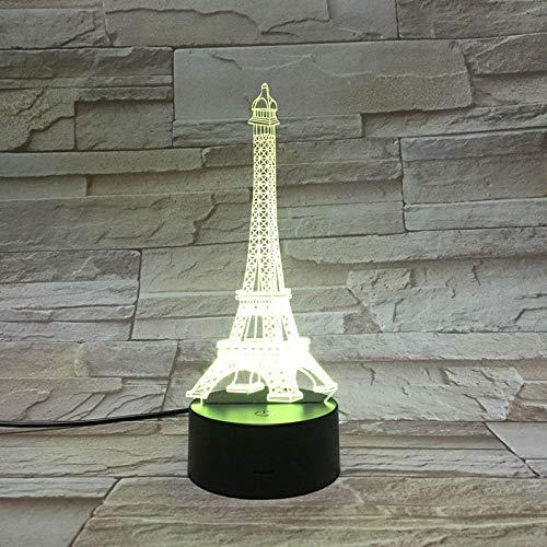 Xiaolaji 3D Nachttischlampen Usb 7 Farbwechsel Led-Romantik Paris Eiffelturm Dekorative Beleuchtung...