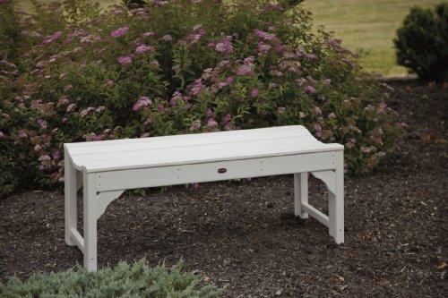 CASA BRUNO Gartenbank ohne Lehne, 122 cm breit, aus recyceltem Polywood® HDPE Kunststoff, weiss – kompromisslos wetterfest - 2