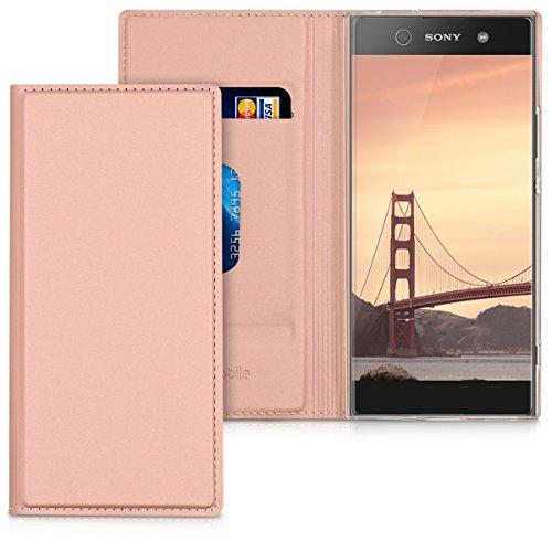 kwmobile Hülle kompatibel mit Sony Xperia XA1 - Flip Handy Schutzhülle - Cover Hülle Handyhülle in Rosegold