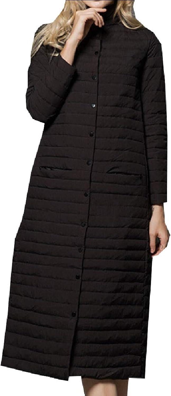 Desolateness Women Stand Collar Quilted Lightweight Slim Long Down Jacket Puffer Coat