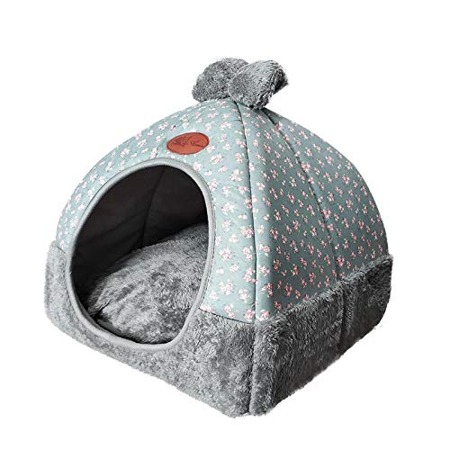 Dog Beds Warm Small Pets Tent Dog House Kennel Bed Mat Cat Blanket Thicken Winter Pet Beds Foldable Fabric Nest Teddy Dog Cotton Cushion 36x36x40cm 1