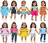 Ecore Fun 10 Sets 18 Inch Doll Clothes and Accessories Doll Outfits Pajamas Dresses Cheerleader Uniform Fit for 18 inch Doll Clothes