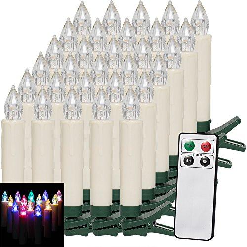 Deuba Set de 30 velas LED para árbol inalámbricas con mando y temporizador iluminación decoración adorno de Navidad luz