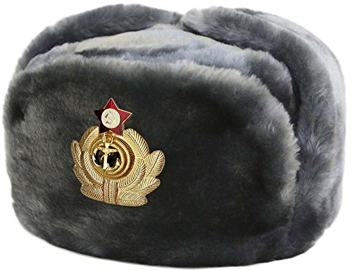 Cucuba® RUSSISCHE FELLMÜTZE SCHAPKA USCHANKA WINTERMÜTZE MILITÄRMÜTZE DER RUSSISCHE Marine MILITÄR GRÖSSEN VERFÜGBAR 56-57-58-59-60 (EU) - Geschenkidee (58 Size L (EU))