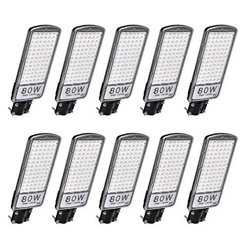 Ankishi Farolas LED para Exterior 10 Pack 80W 8000LM, Foco Módulo Super Brillante IP67 6500K, Farola con soporte de montaje, Reflector Lámpara para Exterior, Floodlight Jardín Patio.(Blanco Cálido)