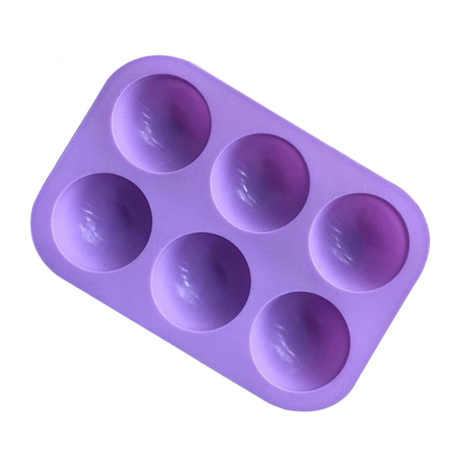 覆す順応性包括的BESTONZON シリコンソープモールド半円マフィンパンカップケーキキャンディモールドケーキチョコレートモールドベーキングモールド6個のキャビティ(紫色)