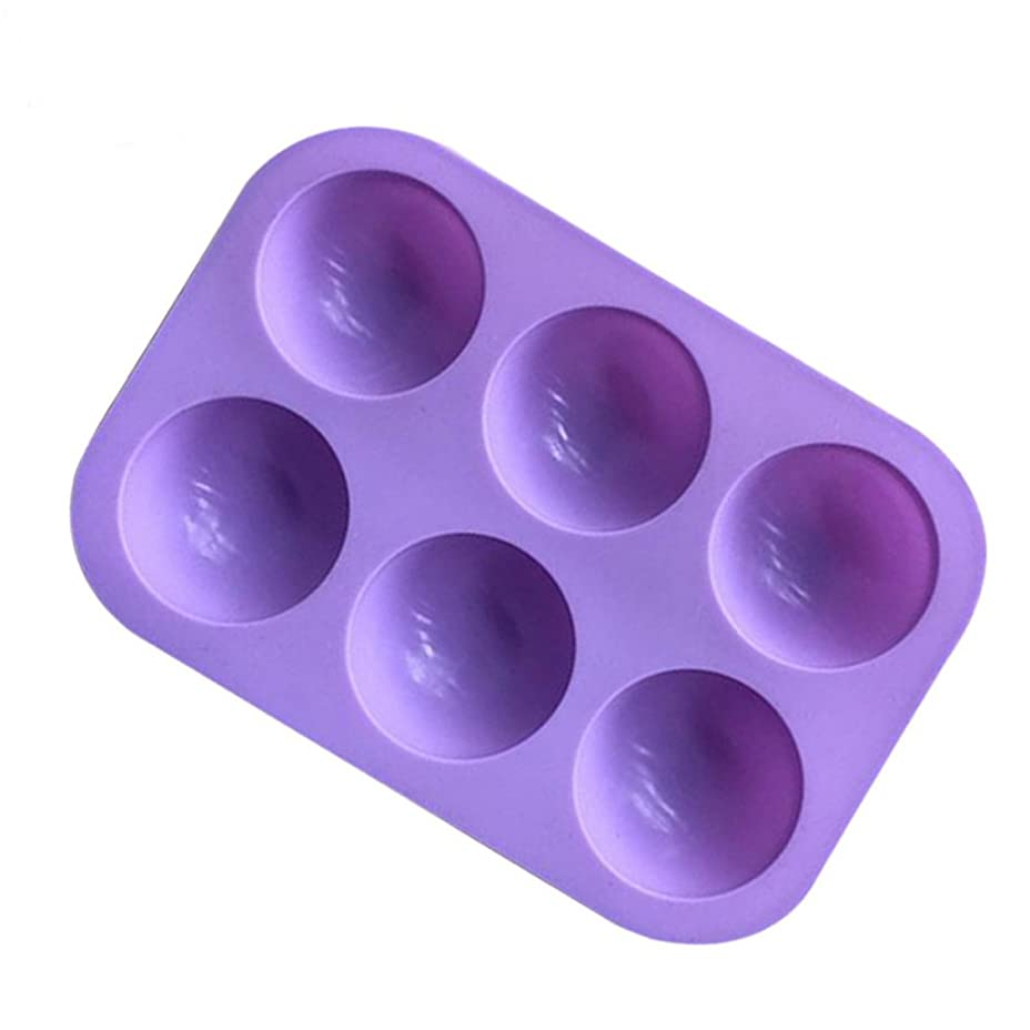 バルク信条芸術BESTONZON シリコンソープモールド半円マフィンパンカップケーキキャンディモールドケーキチョコレートモールドベーキングモールド6個のキャビティ(紫色)