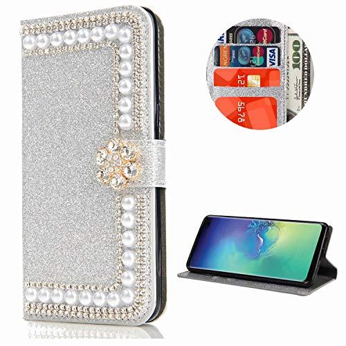 Miagon Hülle Glitzer für Samsung Galaxy S10e,Diamant Strass Perle Blume PU Leder Handyhülle Ständer Funktion Schutzhülle Brieftasche Cover,Silber