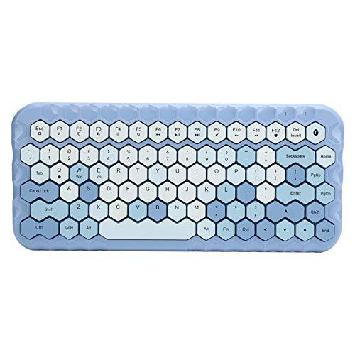 Teclado inalámbrico, Teclado Bluetooth con diseño de 83 Teclas, Compatible con Varios Dispositivos del Sistema, Teclas Multimedia combinadas, conexión Bluetooth Estable(Azul)