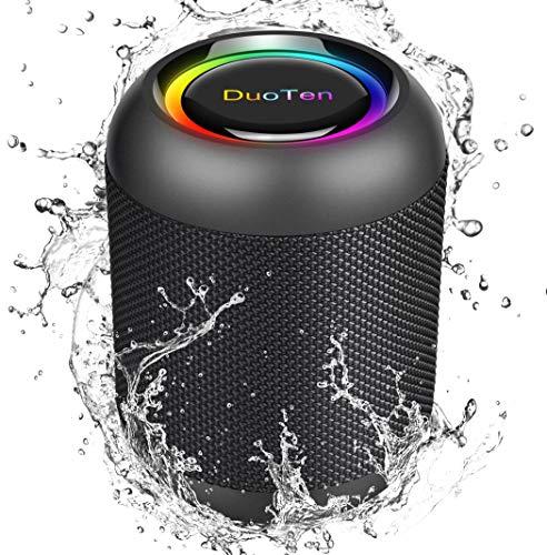 DuoTen Enceinte Bluetooth Portable, Haut Parleur sans Fil avec Lumière, IPX7, 24 Heures, 20W, Son Surround 360 °, Basses Profondes, TWS, Micro intégré, AUX, Micro SD, pour La Fête, à l'extérieur