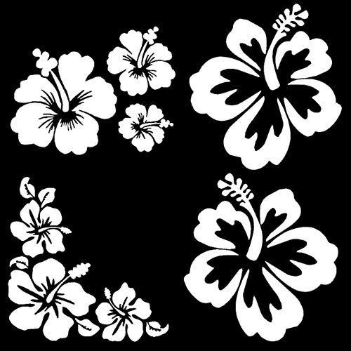 Hibiscus Decal 4 Pack, Hawaiian Hibiscus Flower Decals (Hibiscus White, Small ~3.5')