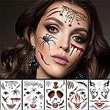 AFYH Tatouages temporaires, Halloween Zombie Cicatrice Tatouage Temporaire Femmes Halloween Autocollants Visage Autocollant De Tatouage Sexy Vampire Étanche Faux Tatouage Enfants