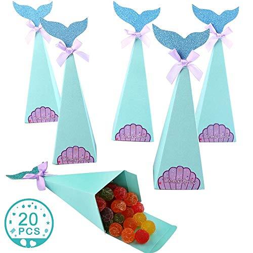 WENTS Cajas Regalo Sirena 20Pcs Caja Caramelos Bolsa de Regalo de Cumpleaños Fiesta DIY Manualidades Cajas para Infantiles de Sirena Decoración para Baby Shower Bodas Lazos
