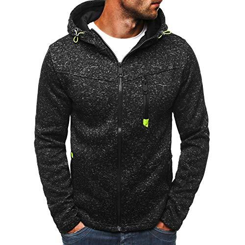 acelyn Sudadera casual con capucha y cremallera para hombre, chaqueta de forro polar, talla M-2XL