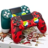 Christmas Alpine Green and Red Camo PS4 Controller 2 Pack - AUGEX Wireless PS4 Remote Control for Sony Playstation 4(Red Camouflage and Green Joystick PS4,2020 New)…