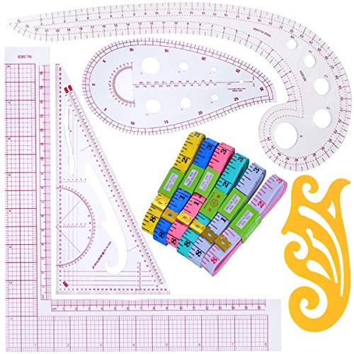 Mengger 11Pcs Reglas de costura patronaje curvas profesional centímetros blandas plástico reglas manualidades herramientas de medida conjunto cinta métrica costura