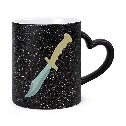 N\A La Mejor Taza de café Divertida, Cuchillo de Caza, Cuchillo Bowie, Herramienta de Corte, Estrellas, Tazas de té y Taza de café de 11 oz para niñas, Esposo, Esposa, Hombres, para Mujeres