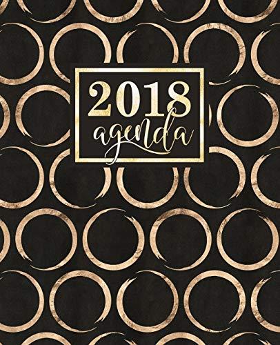 Agenda: 2018 Agenda semana vista español : brillantes círculos dorados sobre fondo negro : 190 x 235 mm, 160 g/m²: Volume 11 (Calendarios, agendas y organizadores personales)