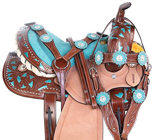 """Acerugs 10"""" 12"""" 13"""" Western Youth Kids Leather Tooled Rodeo Barrel Racing Crystal Bling Child Horse Pony Saddle TACK Set Headstall REINS Breast Collar (Blue Inlay, 13')"""