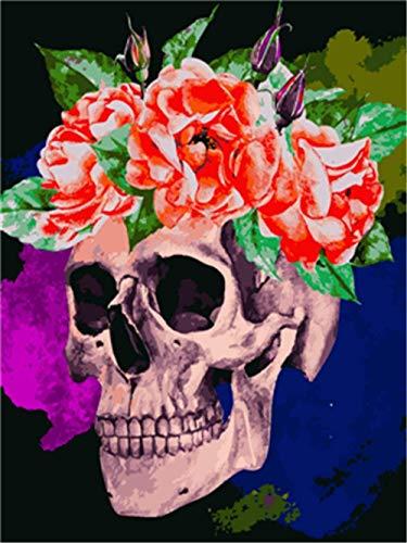 ZXlDXF Kit de pintura al óleo por números, kit de pintura de cráneo rosa por números para adultos y niños principiantes, pintura al óleo de bricolaje pinturas sobre lienzo 40 x 50 cm sin marco