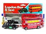 TB El Rojo de Londres Autobs de Dos Pisos y Negro Modelo Taxi Die Cast con el Movimiento de Las Ruedas (Pequeo)