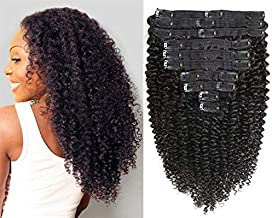 Jiarosi Kinky Curly Clip in Hair Extensions 10Pcs/Set with 21 Clips 8A Brazilian Real Remy Hair 3C 4A Kinkys Curly Human Hair Clip ins for Woman,Natural Black Color,120 Gram(14)