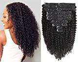 Jiarosi Kinky Curly Clip in Hair Extensions,3C 4A Afro Kinky Curly Clip ins,Thick 8A Brazilian Remy Human Hair Lace Weft Curly Hair Clip in for Woman, 1B Natural Color,10Pcs/Set,120 Gram(18)