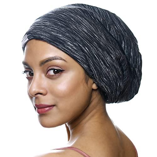 YANIBEST Silk Satin Bonnet Hair Cover Sleep Cap - Black Adjustable Stay on Silk Lined Slouchy Beanie Hat for Night Sleeping
