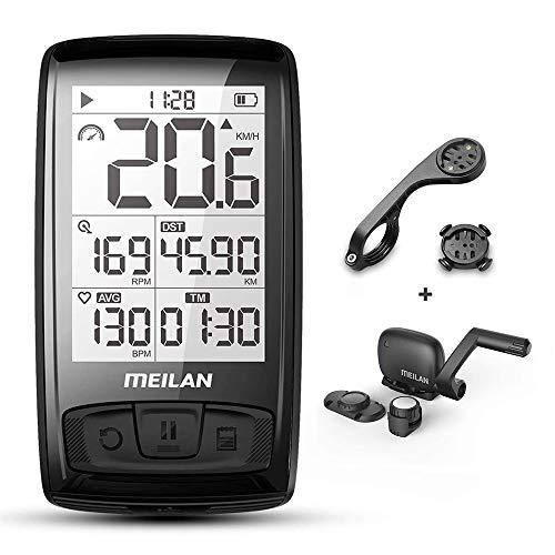 MEILAN BLADE- Ciclocomputador inalámbrico para bicicleta, cuentakilómetros ANT+,Bluetooth 4.0, cuentakilómetros y tacómetro, velocidad y cadencia, impermeable, pantalla LCD de 2,5