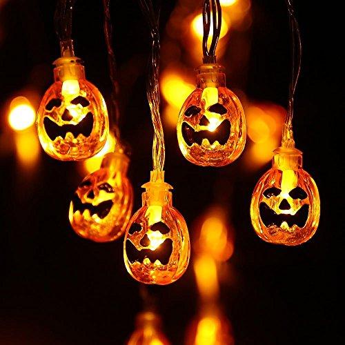 Halloween Decoracion, 20 LED Cadena de Luces de Calabaza con Pilas, 2 Modos Luces Parpadeantes, Lámparas Decorativas de Interior y Exterior