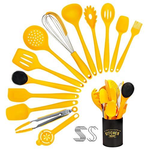 Resnnih Utensilios de Cocina Silicona, 14 Piezas de Herramientas de Cocina antiadherentes de Silicona Resistentes al Calor, respetuosas con el Medio Ambiente Fácil de Limpiar Amarillo(sin BPA)