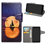 HHDY Wiko Harry 2 Leder hülle, Painted Muster Wallet Handyhülle mit Kartenfächer/Standfunktion Case Cover für Wiko Harry 2,Sailboats und Moon