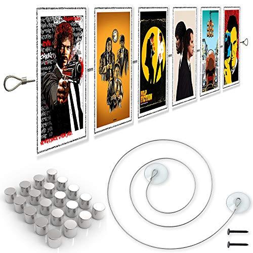 LeTOMA – Fotoseil 200 cm mit 20 extrem starken Neodym Magneten und Saugnäpfen – Extra starkes Magnetseil garantiert besten Halt für Fotos und Postkarten - Hält auch an Fenstern – Bilderseil, Fotodraht