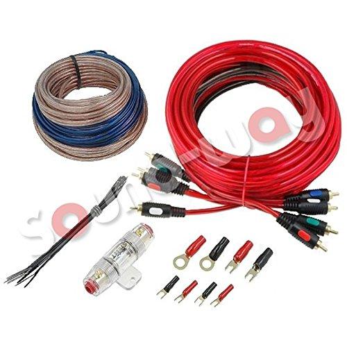 Sound-way Kabelset Auto Complete Set versterker subwoofer auto aansluiting hifi 4 kanalen zekering RCA-kabel en Luidspreker