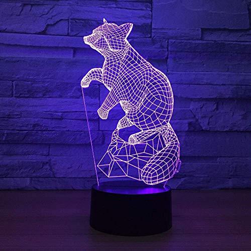 Creatieve 7 Kleuren veranderen Kinderen Slaapkamer Slaap Nachtlampje 3D Dierlijke Vos Led Verlopen Bureau Lamp Sfeer Verlichting Home Decor
