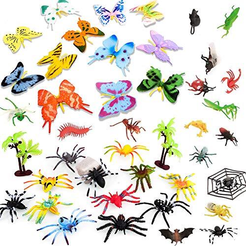 BESTZY 44pcs Insectos plástico para niños Figuras Insectos Juguetes con Pegatina Pared Colorida Mariposa para educación