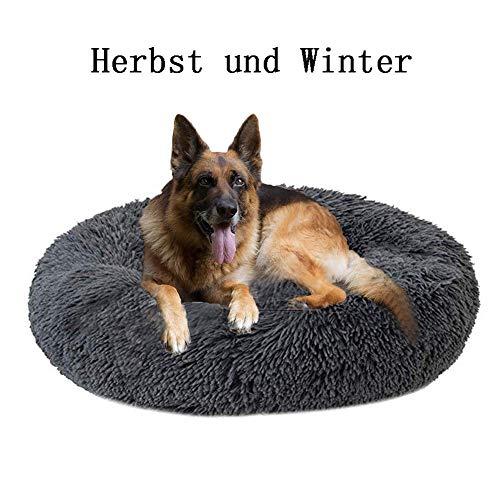 LHorizoncn Round Luxuriöses Tierbett für Hunde, Plüsch, atmungsaktiv, rund, Form Donut-Schlafsack, geeignet für mittelgroße und große Hunde (grau), 120cm
