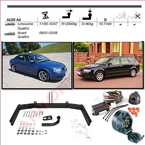 AHK Anhängerkupplung mit Elektrosatz 7 polig für Audi A4 Stufenheck Kombi 4x4 2000-2004 Anhängevorrichtung Hängevorrichtung - starr, mit angeschraubtem Kugelkopf