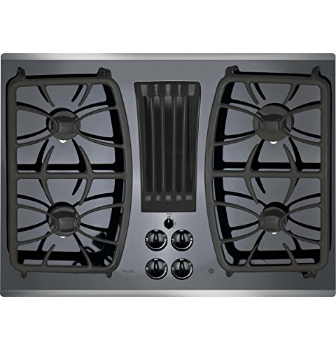 "GE Profile 30"" Gas Downdraft Black Glass Top Stainless Steel Trim PGP9830SJSS"