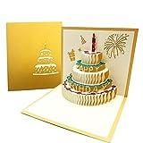 3D Emergente Tarjeta de Felicitación Cumpleaños con Sobre, Creatividad Tarjeta de Cumpleaño de Pastel con Vela Rojo para Familia, Amigo para Cumpleaño, Graduación - Dorado