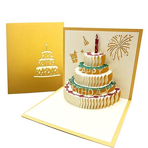 3D Pop up D'anniversaire Cartes de Vœux avec Bougie Rouge, Carte Anniversaire avce Enveloppe pour la Famille, les Amis, les Collègues, 3 Couches Gâteau - Dorée