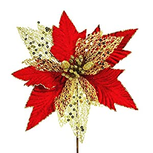 6 pcs Christmas Sparkling Gold Random Fiber Mesh and Red Velvet Artificial Poinsettia Flower Picks Christmas Tree Ornaments 9.6″ Wide for Gold Red Xmas Tree Wreaths Garland Winter Holiday Decoration
