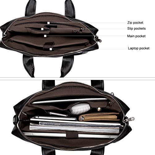 BOSTANTEN Leather Briefcase Laptop Case Handbag Business Bags for Men Black