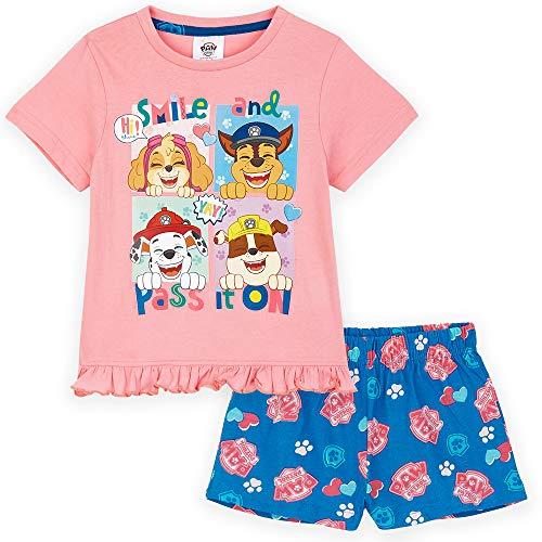 Paw Patrol Pyjama Short Fille Pat Patrouille Stella, Pyjashort 2 Pièces Top Manches Courtes et Short Coton, Vêtement de Nuit Été Taille Enfant 18 Mois-6 Ans (Rose, 2-3 Ans)