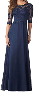 Women's Beading Evening Dresses Half Sleeves Chiffon Long Mother of Bride Dresses