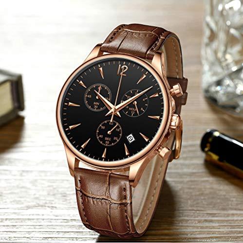 Voigoo Herrenuhren Luxusfreizeitwasserdichte Uhr for Mann-Sport-Quarz Lederarmband Männer Auto Date Uhr Relogio Masculino