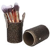 Soporte para brochas de maquillaje de cuero de PU, portavasos portátil para brochas de maquillaje, contenedor de cosméticos de viaje, herramienta para escritorio o tocador(Bronce)