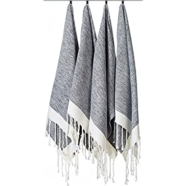 [SET OF 4] Unique Turkish Cotton Peshtemals & Towels - Size (20  x 31 ) Travel, Bath, Spa, Sauna, Beach, Gym, Pool, Beach, Yoga, Hand, Face - Super Soft Quick Dry and Highly Absorbent Towels, Black